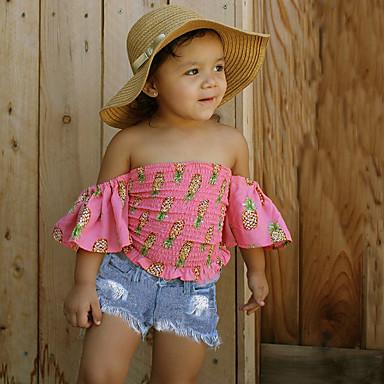 סט של בגדים כותנה אביב קיץ שרוולים קצרים יומי ספורט פרחוני בנות פשוט יום יומי ורוד מסמיק