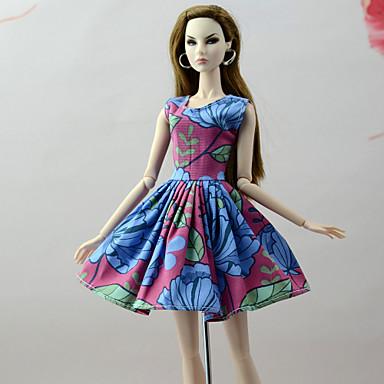 Sukienki Sukienki Dla Lalka Barbie Czerwony / Niebieski Mieszanka bawełny i poliestru / Mieszanka lnu i poliestru Sukienka Dla Dziewczyny Lalka Zabawka