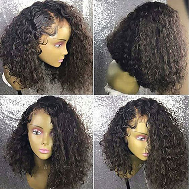 Păr Remy Față din Dantelă Perucă Păr Brazilian Buclat Perucă 150% Cu părul copiilor / Linia naturală de păr / Perucă Americană Africană Pentru femei Scurt / Lung / Lungime medie Peruci Păr Uman