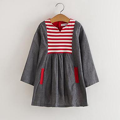 Brzdąc Dla dziewczynek Codzienny Prążki / Patchwork Patchwork Długi rękaw Jedwab wiskozowy Sukienka Czerwony / Śłodkie