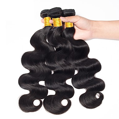 baratos Extensões de Cabelo Natural-3 pacotes Cabelo Indiano Onda de Corpo 8A Cabelo Humano Preta Côr Natural Tramas de cabelo humano Feminino Nova chegada Coloração Extensões de cabelo humano Adulto