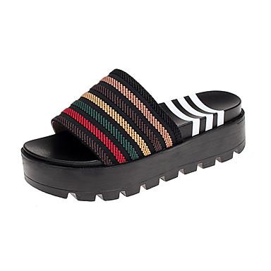 Naisten Kengät PU Kesä Comfort Sandaalit Kiilakantapää Valkoinen / Musta / Punainen
