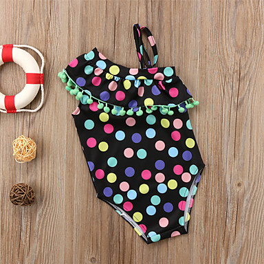 cheap Girls' Swimwear-Toddler Girls' Boho Beach Polka Dot Ruffle Tassel Sleeveless Swimwear Light Green