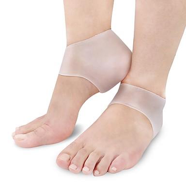 baratos Palmilhas-2pçs Absorção de impacto ortopédicas Palmilhas e Calcanhadeiras Gel Calcanhar Branco Bege