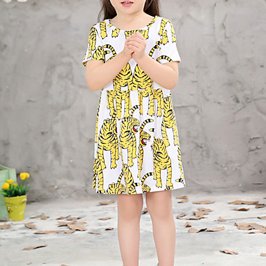 שמלה כותנה קיץ חצי שרוול יומי גיאומטרי הילדה של יום יומי צהוב