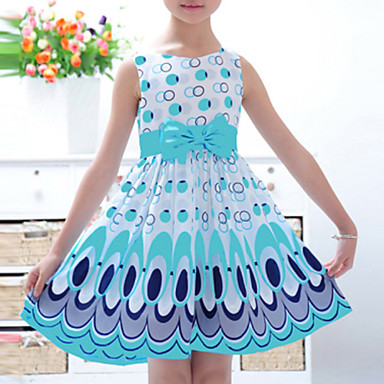 お買い得  女児 ドレス-幼児 女の子 活発的 甘い 日常 カラーブロック リボン プリント ノースリーブ ドレス イエロー