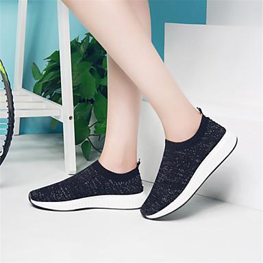 Noir Plat Confort Gris Tricot Talon Rose Eté Chaussures Printemps Femme Basket 06640306 84TqOT