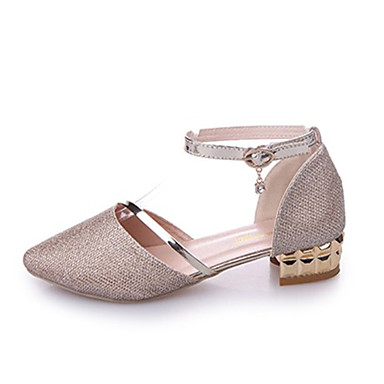 Women's Shoes Synthetic Microfiber PU Fall Comfort Flats Flat Heel Round Toe Appliques Gold / Silver