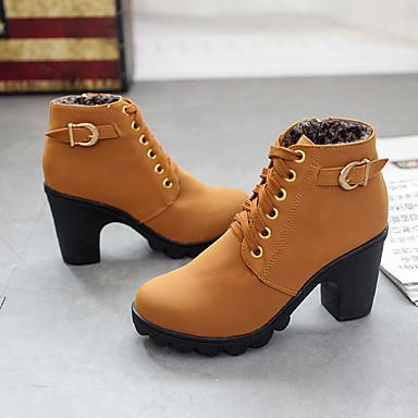 povoljno Ženske čizme-Žene Čizme Kockasta potpetica Okrugli Toe PU Čizme gležnjače / do gležnja Jesen zima Crn / Tamno smeđa / Tamno zelena