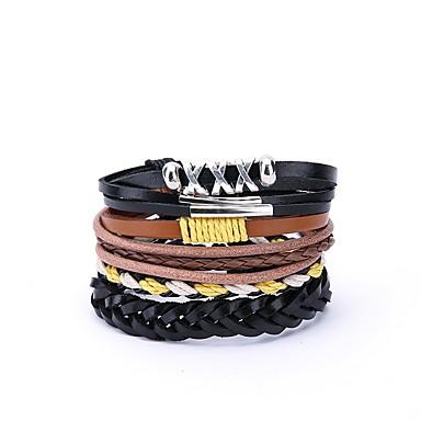 abordables Bracelet-4pcs Bracelets Plusieurs Tours Homme Cuir énorme Bracelet Bijoux Noir Irrégulier pour Cadeau Quotidien
