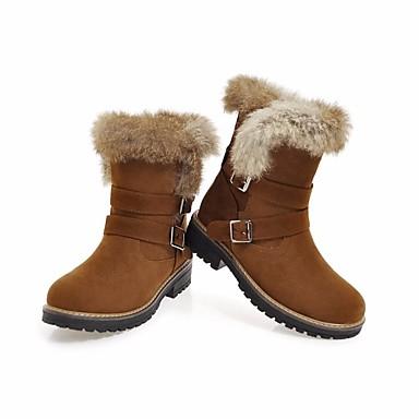Mi synthétique Talon Noir mollet Bottes Bottes Beige Bout Bottes Jaune Plume Hiver Femme neige de 06629526 Automne Bas rond Chaussures Laine zqZEA6