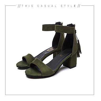 Women's Shoes PU(Polyurethane) Spring / Summer Comfort Sandals Chunky Heel Open Toe Imitation Pearl Black / Army Green