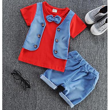 9a4c0ceab7cb Μωρό Αγορίστικα Καθημερινά Μονόχρωμο / Συνδυασμός Χρωμάτων Patchwork  Μακρυμάνικο Κανονικό Κανονικό Πολυεστέρας Σετ Ρούχων Ρουμπίνι / Χαριτωμένο  / Νήπιο
