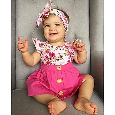 Bambino (1-4 Anni) Da Ragazza Attivo Quotidiano - Per Eventi Fantasia Floreale Con Balze - Con Stampe Manica Corta Standard Standard Cotone - Poliestere Completo Rosa - Romantico #06632029
