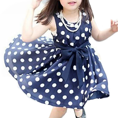 お買い得  女児 ドレス-幼児 女の子 甘い 日常 水玉 / 波点 ノースリーブ ドレス ホワイト