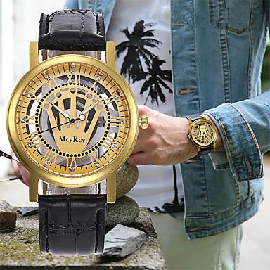 baratos Relógios Homem-Homens Mulheres Relógio Elegante Relógio Esqueleto Relógio de Pulso Japanês Quartzo Couro Preta / Marrom Cronógrafo Gravação Oca Criativo Analógico Luxo Clássico - Marron Dourado Castanho Dourado