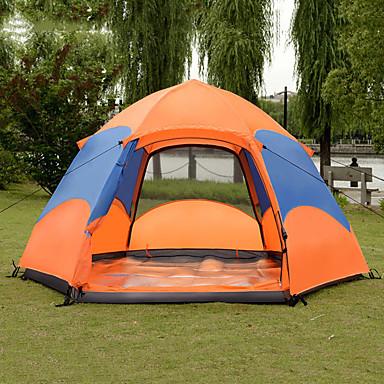 8 أشخاص أوتوماتيكي الخيمة في الهواء الطلق خفة الوزن ضد الهواء مكتشف الأمطار طبقات مزدوجة أوتوماتيكي القبة خيمة التخييم 1500-2000 mm إلى صيد السمك التسلق Camping / Hiking / Caving تيريليني PU