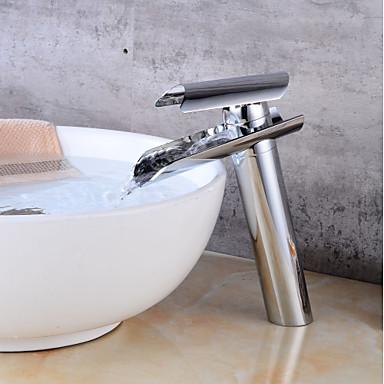 Bateria do umywalki łazienkowej - Wodospad Chrom Umieszczona centralnie Jeden uchwyt Jeden otwór / Mosiądz