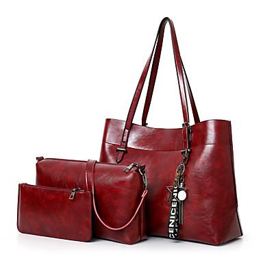 ba89f407f9 Γυναικεία Τσάντες PU Σετ τσάντα 3 σετ Σετ τσαντών Φερμουάρ   Φούντα  Συμπαγές Χρώμα Ρουμπίνι   Γκρίζο   Καφέ