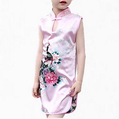 Χαμηλού Κόστους Φορέματα για κορίτσια-Νήπιο Κοριτσίστικα Λουλουδάτο Εξόδου Ζακάρ Αμάνικο Κανονικό Κανονικό Πολυεστέρας Φόρεμα Κόκκινο