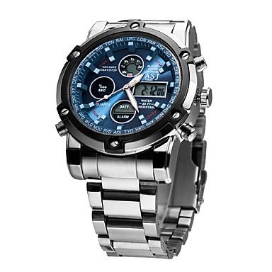49ef5c17421c ASJ Hombre Reloj Deportivo Reloj Digital Relojes Quartz Japonés Digital  Acero Inoxidable Plata 30 m Resistente al Agua Despertador Calendario ...