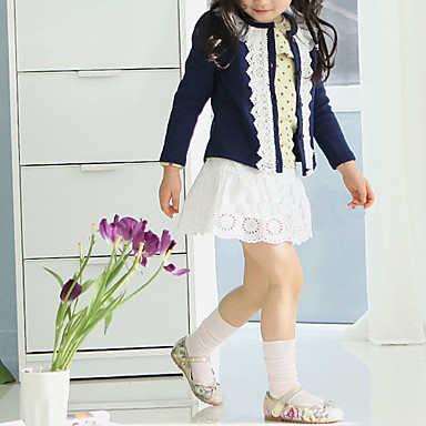 Girls' Solid Sweater & Cardigan, Cotton Polyester Winter Spring Fall Long Sleeves Floral Navy Blue Pink