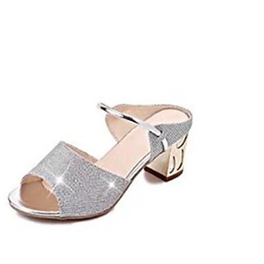 Mulheres Sapatos Couro Ecológico Primavera / Verão Conforto Sandálias Salto Robusto Peep Toe Pedrarias Dourado / Prateado