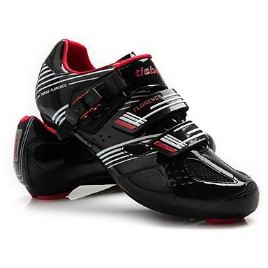 رخيصةأون أحذية ركوب الدراجة-Tiebao® Road Bike Shoes ألياف الكربون مكافح الانزلاق ركوب الدراجة أسود / أحمر رجالي أحذية الدراجة / هوك وحلقة