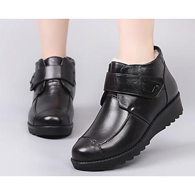 Demi Bottine Hiver Botte Noir fourrure Bottes Plat Bottes neige Femme en Talon Chaussures Cuir Doublure 06627728 de wq7qnH6OR