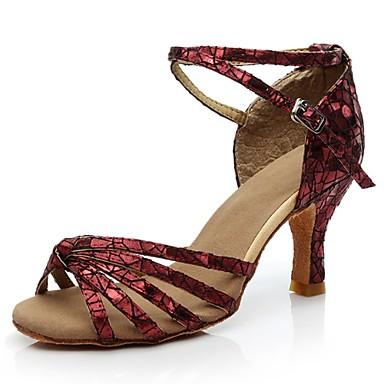 Chaussures de danse(Noir / Bleu / Rouge / Argent / Or) -Personnalisables-Talon Personnalisé-Paillette Brillante-Latine / Salsa , red , us8.5 / eu39 / uk6.5 / cn40