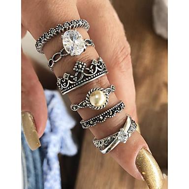baratos Bijuteria de Mulher-Mulheres Conjunto de anéis / Anéis Meio Dedo / Anéis empilháveis 6pcs Prata Imitação de Pérola / Liga Formato Circular senhoras / Básico / Fashion Diário / Encontro Jóias de fantasia