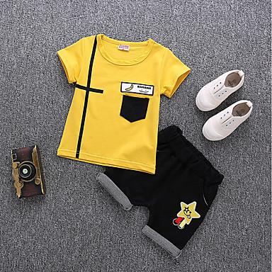 cheap Boys' Clothing Sets-Toddler Boys' Active Daily / School Print Short Sleeve Regular Cotton / Acrylic Clothing Set White / Cute