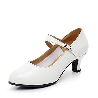 baratos Shall We® Sapatos de Dança-Mulheres Sapatos de Dança Couro Ecológico Sapatos de Dança Moderna Recortes Salto Salto Personalizado Personalizável Branco / Interior