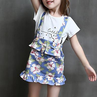 סט של בגדים כותנה אביב קיץ חצי שרוול יומי אחיד פרחוני בנות פשוט לבן