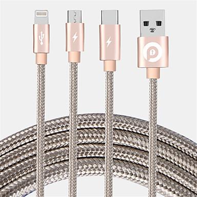 Micro USB / Oświetlenie / Type-c Adapter kabla USB Wysoka prędkość / Szybka opłata Kable Na iPhone 120 cm Na Nylon