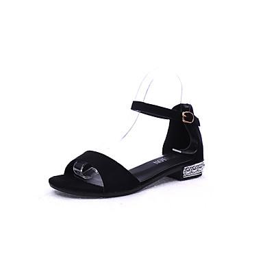 للمرأة أحذية PU ربيع / صيف مريح كعوب كعب منخفض أمام الحذاء على شكل دائري أسود / كتلة صنادل كعب