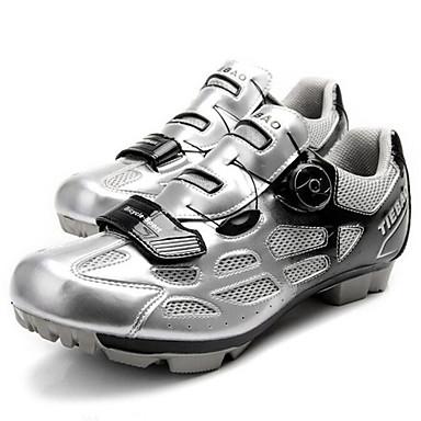Tiebao® Buty na rower górski Włókno węglowe Antypoślizgowy, Zdatny do noszenia, Oddychalność Kolarstwo Srebrny / Czarny Męskie / Oddychająca siateczka / Haczyk