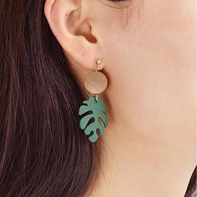 abordables Boucle d'Oreille-Femme Boucle d'Oreille Pendantes Forme de Feuille dames Mode Des boucles d'oreilles Bijoux Vert Pour Quotidien Rendez-vous Fête d'anniversaire