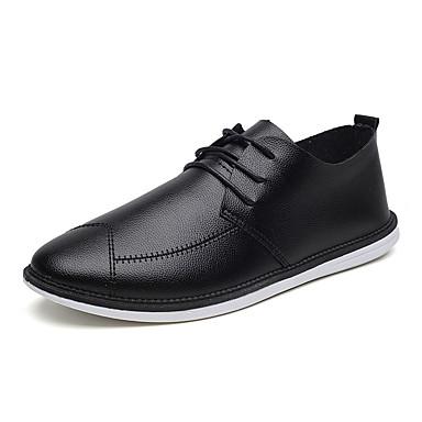 Miesten kengät PU Kevät Syksy Maiharit Comfort Bootsit Kävely Solmittavat varten Kausaliteetti Valkoinen Musta