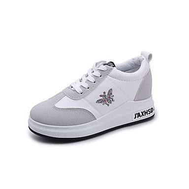 בגדי ריקוד נשים נעליים גומי אביב נוחות נעלי ספורט שטוח בוהן עגולה לבן / שחור