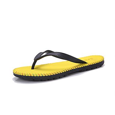 Homens sapatos Couro Ecológico Verão Conforto Chinelos e flip-flops Caminhada para Casual Verde Preto / Vermelho Preto / Amarelo Preto /