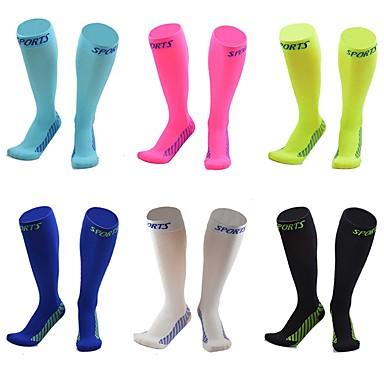 Kompressziós zokni Sport Zokni / Atlétikai Zokni Kerékpáros zoknik Férfi Kerékpározás / Kerékpár Kerékpár / Kerékpározás Kerékpár Fitness, futás és jóga Lélegzési képesség 1 pár Tömör szín Elasztán