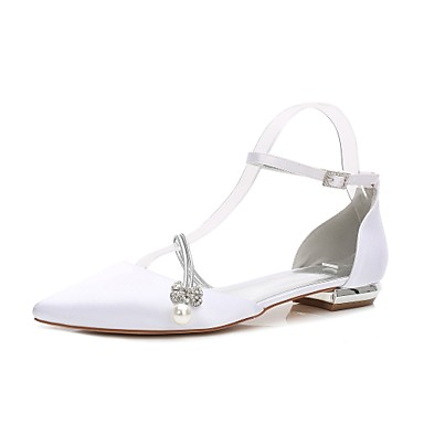 9ca0f969b Women's Wedding Shoes Flat Heel Pointed Toe Rhinestone / Bowknot /  Imitation Pearl Satin Comfort / D'Orsay & Two-Piece Spring / Summer White /  Ivory