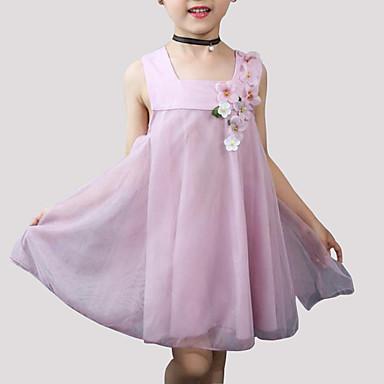 Sukienka Rayon Poliester Dziewczyny Codzienny Kwiaty Lato Bez rękawów Urocza Blushing Pink Gray