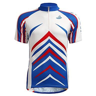 Jaggad Męskie Krótki rękaw Koszulka rowerowa - Niebieski Geometric Shape Rower Dżersej, Oddychający Nylon Elastyczny