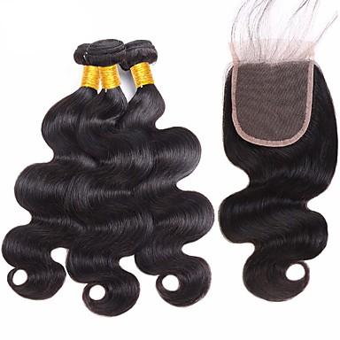 baratos Extensões de Cabelo Natural-3 pacotes com fechamento Cabelo Brasileiro Onda de Corpo 8A Cabelo Humano Não processado Cabelo Natural Trama do cabelo com Encerramento Preta Côr Natural Tramas de cabelo humano com o cabelo do beb