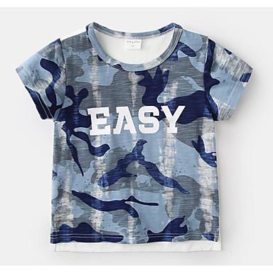 baratos Camisas para Meninos-Bébé Para Meninos Básico Diário Geométrica Manga Curta Camiseta Azul