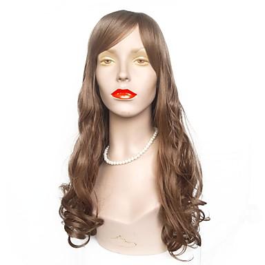 お買い得  人工毛キャップレスウィッグ-人工毛ウィッグ ウェーブ スタイル レイヤード・ヘアカット キャップレス かつら ブラウン ベージュ 合成 女性用 ナチュラルヘアライン ブラウン かつら ロング コスプレ用ウィッグ