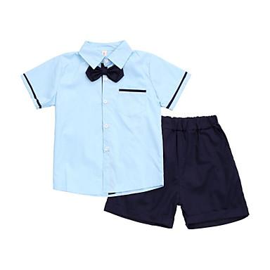 Dzieci Dla chłopców Podstawowy Szkoła Solidne kolory Krótki rękaw Bawełna Komplet odzieży
