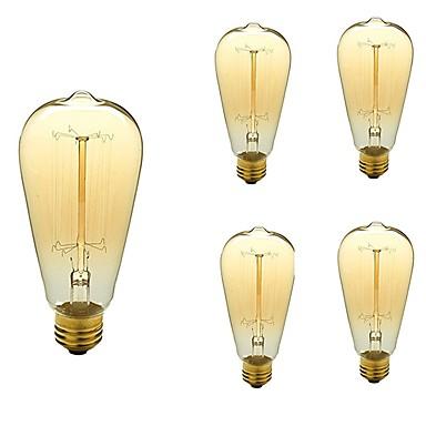 5szt 40 W E26 / E27 ST64 Ciepła biel 2200-3000 k Retro / Przygaszanie / Dekoracyjna Żarówka Edisona w stylu vintage 110-130 V